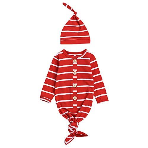 mtxtechnology Neugeborene Babys Nachthemd Langarm gestreiften Baby Robe Schlafsack mit Hut für Jungen Mädchen