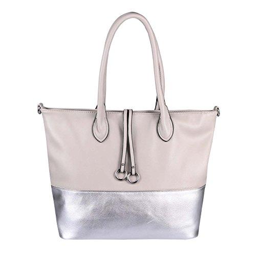OBC DAMEN HAND-TASCHE XXL Shopper Schultertasche Henkeltasche Beuteltasche DIN-A4 Tote Bag Metallic Umhängetasche Leder Optik Grau-Silber