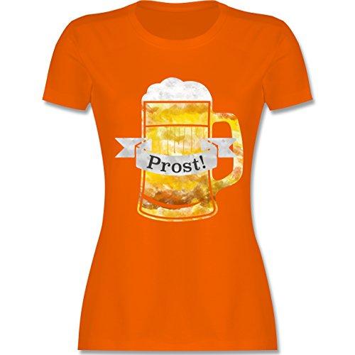 Oktoberfest Damen - Prost Bierkrug Wasserfarben - tailliertes Premium T-Shirt mit Rundhalsausschnitt für Damen Orange