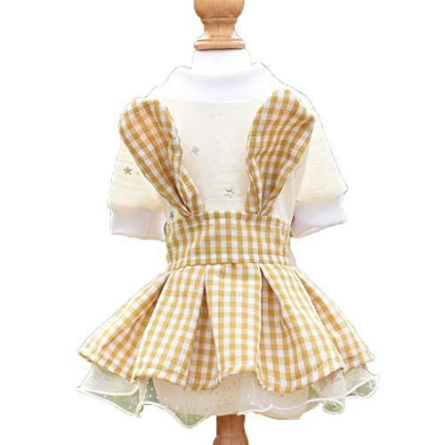 Kleidung Frühling Teddybär Kleiner Hund VIP Haustier Sommer Plaid Prinzessin Rock Dünnschliff (Farbe : Gelb, größe : L) ()