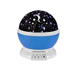 Ecandy 360 proiettore di luce gradi di rotazione 3 modalità Star Romantico Cosmos Stella lampada da letto della luce di notte per bambini, adulti, regali di Natale, amanti con USB / batteria alimentato (Blu)