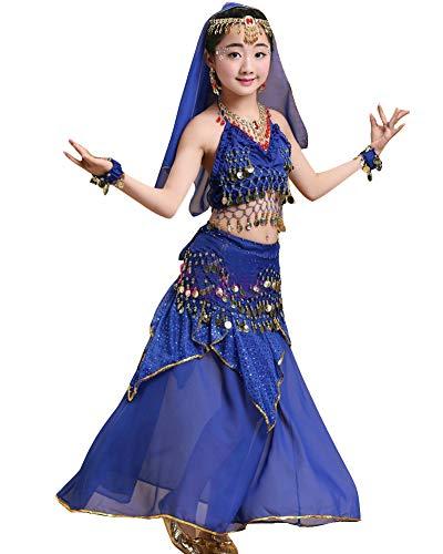 Kinder Mädchens Damen Tanzkleid Top Rock Indische Bauchtänzerin Kostüme Saphirblau Adult Höhengeeignet 150-170CM (Adult Kostüm Indischen)