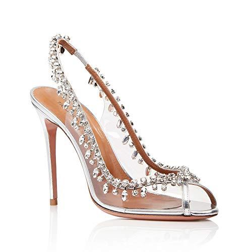 TYXWF Frauen Wedding Strappy Heel Party Sandals Prom Schuhe High Heels,Silver,37 Heel Strappy Sandal