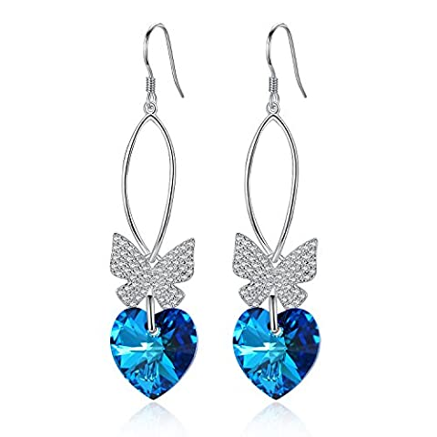 EVER FAITH® - Poursuite - Boucles d'Oreilles Argent 925/1000 Zircon Papillon et Cœur Étincelant avec des Cristaux Swarovski® Bleu Bermuda
