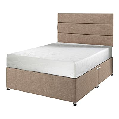 Happy Beds Impressions 6000 Cool Blue Orthopaedic Memory Foam Mattress with Divan Base, Lined Headboard, Ottoman Storage, Sand - Double - inexpensive UK light store.