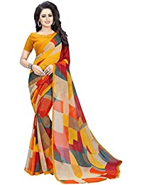 Kanchan Chiffon Saree For Women & Girls Ideal For Parties & Functions(KTORANGE MIX_Multi Coloured)