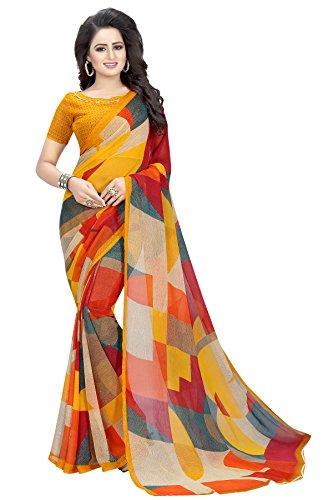 Kanchan Chiffon Saree For Women & Girls Ideal For Parties & Functions(KTORANGE...