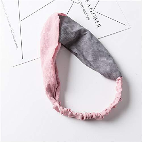 chmuck kreuzen Sie elastisches Haarband Retro- Kontrastfarbgewebe-Stirnband zweifarbig Frau, Rosa + Grau ()