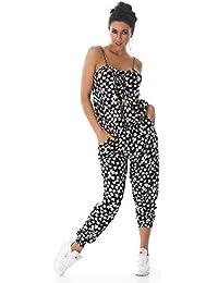 Jela London Damen leicht Jumpsuit Overall Hosenanzug Einteiler verschiedene Farben und Muster Einheitsgröße (passend für 36 bis 40)