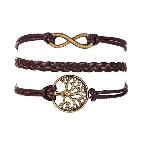 Sunnywill Frauen Mädchen Baum Multilayer stricken Leder Seil Kette Charm Armband Geschenk für Mädchen Frauen Damen
