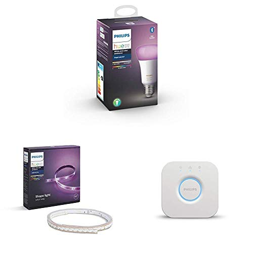 Philips Hue White and Color Ambiance Lampadina LED Singola Connessa, Attacco E27, 9 W, 1 Pezzo + Philips Hue Striscia LED Intelligente + Philips Hue Bridge 2.0 Controllo del Sistema, Bianco