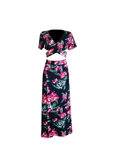 Holify Frauen 2 Stueck Ernte Top Maxi Rock Set Sexy Bandage Beach Maxi Kleid Nachtclub (Kleid Sexy Outfit)