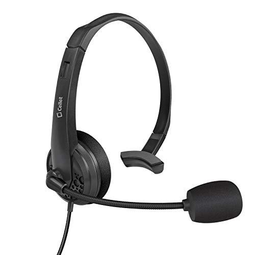 Cellet 3,5 mm Computer-/Handy-Kopfhörer, leicht, PC verkabelt, für Skype, Webinar, Telefon, Call Center Kompatibel für iPhone, Galaxy S9/S9 Plus, LG, Huawei, HTC, LG, ZTE. -
