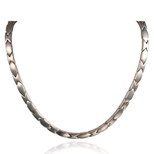 ollet Jewelry 48 cm lange Herren-/Damenkette aus Hämatit, Germanium und Titan, magnetische Halskette