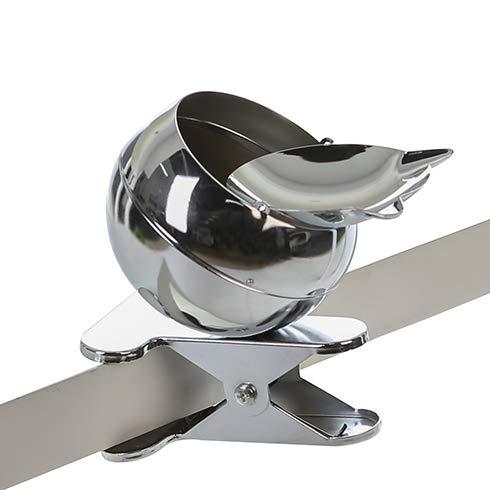 Sturm-Aschenbecher Clip it aus Metall · silber runder Kugelascher Ø 11 cm mit Klammer zum Befestigen an Tischen, Bänken usw. mit Moosgummi-Schutz an der Klammer Höhe 13 cm · Breite 10 cm · Tiefe 14,5