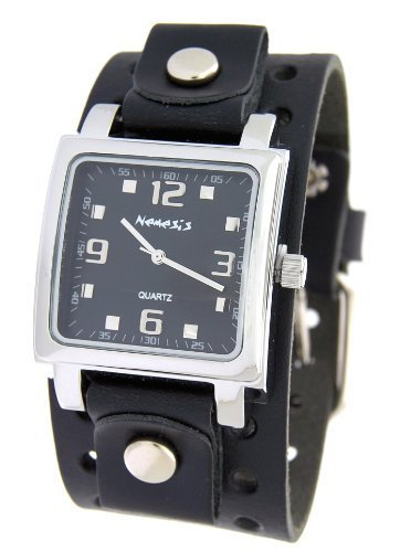 Nemesis #NE240K Men's Square Black Dial Wide Leather Cuff Band Watch