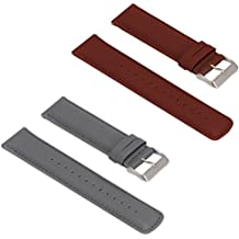 Turnwin for Fossil Q Nate Gen 2 Hybrid Straps Wristbands, 2pcs Replacement Leather Bands for Fossil Q Nate Gen 2 Hybrid Only (Gray+Brown)