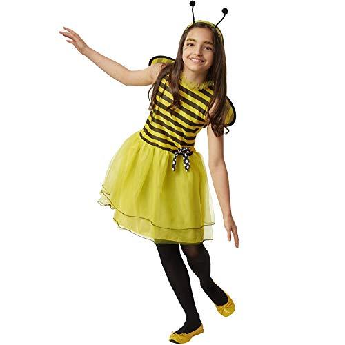 dressforfun 900556 Kleine Biene Caroline, In Gelb und Schwarz gehaltenes Bienenkostüm (128| Nr. - Kleiner Junge Biene Kostüm