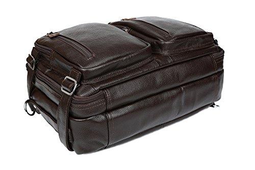Tiding Herren Echtleder Reisen Duffels Weekender Draussen Gepäck Freizeit Mehrzweck 15 'Laptop Große Kapazität Rucksack Umhängetasche Tasche Kaffee Kaffee