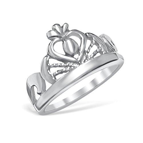 Argento Sterling 925Cuore Principessa Crown Tiara anello, argento, 59 (18.8), cod. BS-RING-102-9