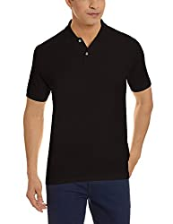 Louis Philippe Mens Polo (8907545309914_LPKP317M04982_Medium_Black Solid)