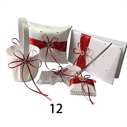 QUEENBACK 1 Satz Gästebuch Stift Ring Kissen Strumpfhalter Blumen Korb Hochzeitsparty Dekoration - 12 - Ring-kissen Gästebuch,