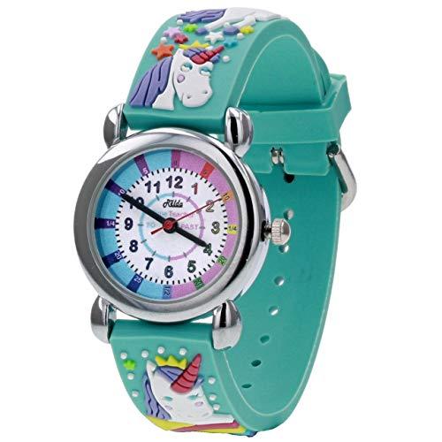 Relda Time Teacher - Reloj con Correa de Silicona, diseño de Unicornio en 3D
