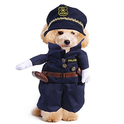 UEETEK Disfraces para Perro Gato Mascotas Traje Policía Ropa Tamaño XL
