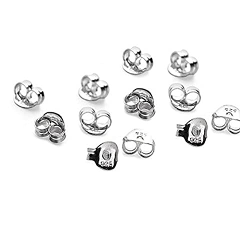 15 x Pairs(30) Rhodium Plated Sterling Silver Butterfly Earring Backs Scrolls Push Fit .925 (5.5mm x 3mm)