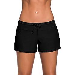 Short de Bain Femme Bas de Maillot de Bain Shorty Sport Shorts de Plage avec Cordon, Noir 3XL