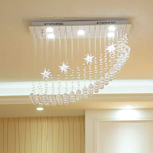 homker Kronleuchter Zeitgenössische Moderne LED Kristall DREI-Farben-Dimmen 5W × 6 Lichter,50 × 25 × 60 cm -