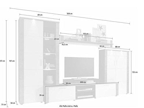 trendteam XP98710 Wohnwand Anbauwand Wohnzimmerschrank Xpress Esche grau Nachbildung und Fronten in weiß Nachbildung, 308 x 197 x 51 cm - 6