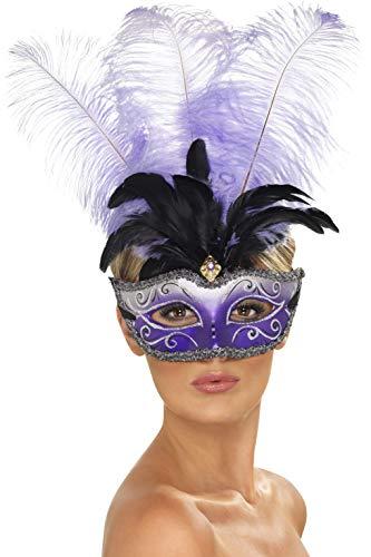 Smiffys - Venezianische Colombina Augenmaske mit mehrfarbigem Federbusch