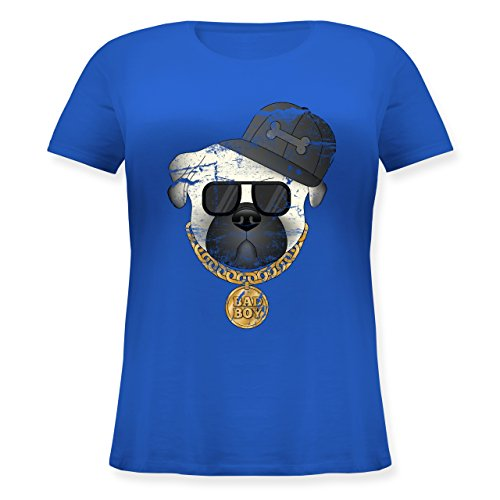 Hunde - Bad Boy Mops Vintage - S (44) - Blau - JHK601 - Lockeres Damen-Shirt in großen Größen mit Rundhalsausschnitt