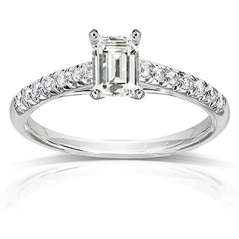 Moissanite taglio smeraldo &-Anello stile fidanzamento, da donna, a 3/4 carato (ctw) in oro bianco 14 k