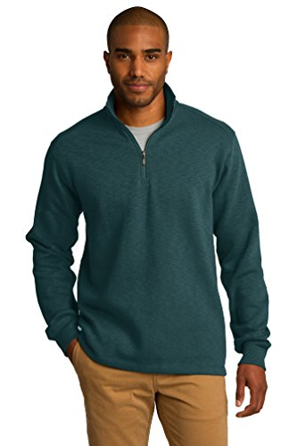 port-authority-mens-textured-cadet-collar-fleece-1-4-zip-pullover-dark-green-f295-l