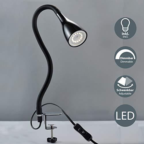B.K.Licht - Flexo LED con pinza, para escritorio, luz de lectura con...