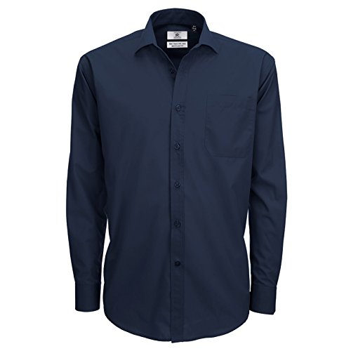 B&C Collection Herren Modern Business-Hemd Navy