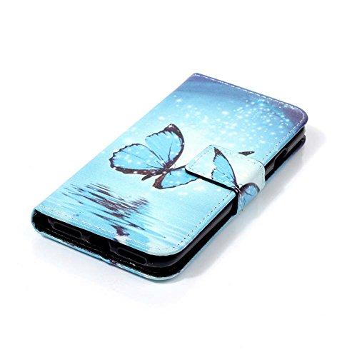 iPhone 8 PLUS Schutzhülle,iPhone 7 Plus Bookstyle Flip PU Leder Hülle Case Cover - Aeeque 360 Grad Drucken Bunte Muster Kartenfächer Ständer Magnet Verschluss Weich Silikon Bumper Schutzhülle Skin Sch Blau Schmetterling