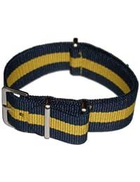 Correa de reloj militar NATO de nylon, Azul/Amarillo, 20mm