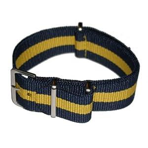 NATO Band Strap Blau/gelb Blue/Yellow 20mm 10nachzehn