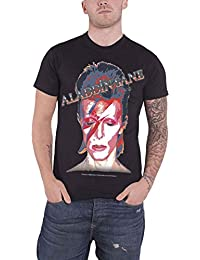 David Bowie Shirt Aladdin Sane Face Portrait Band Logo Official Mens Black