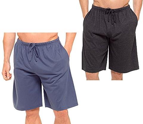 Hommes Paquet Double Shorts Salon Jersey Extensible Sommeil Vêtement De Nuit Pyjama Bas - dk gris & bleu, Large