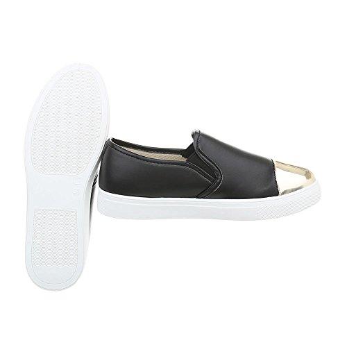 Moderne Donna Casual Dorate Sneakers Nere Scarpe Ital Da Sneakers Basse Basse D22 design xUCXBnC1wq