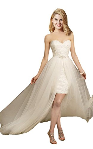 Fanciest Damen Kurz Spitzen Brautkleider with Tulle Detachable Skirt Ivory UK18