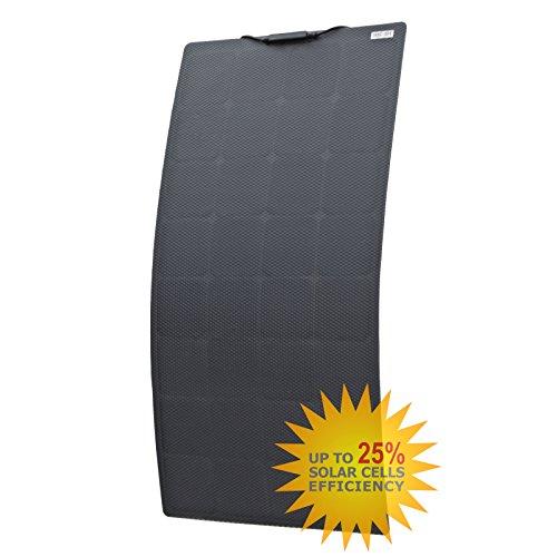 110W schwarze semiflexiblem Solar Panel aus Back-Contact Zellen mit robuster ETFE Beschichtung, für Wohnmobil, Wohnwagen, Wohnmobil, RV, Boot, Yacht, LKW, Trailer, oder eine Solar Power System