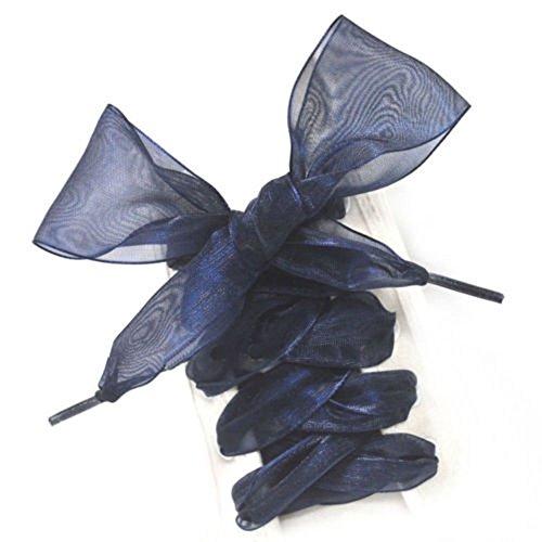 MAXGOODS Lacci Delle Scarpe, Lacci Per Scarpe Con Nastro Piatto In Raso Per Donne, Bambine E Bambini, 43 Pollici Lunghi 4CM.Colore Blu