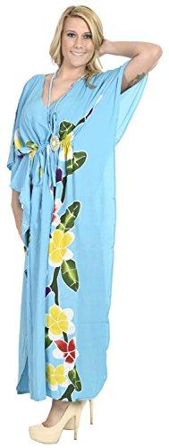 La Leela Bademode Badebekleidung Rayon Abend aloha Nachtzeug Kaftan loses Kleid der Frauen Türkis