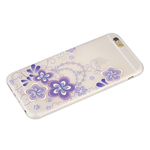 "Apple iPhone 6 Plus/6S Plus 5.5"" Case Silicone - Felfy Ultrathin Slim Soft Gel Mode Silicone Lichtdurchlässig TPU Peinture Rose Motif Fleur de Diamant de Bling Glitter étincelle Strass Cristal Creativ #27"