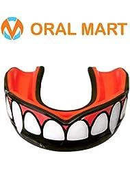 Oral Mart Paradenti con Custodia ventilata per Karate, Boxe, Combattimento, Taekwondo, Rugby Fang/Vampire Nero e Rosso